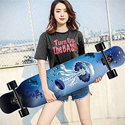 OFFA 42x10 Inch Skateboards Deck,longboards Cruiser Skateboards, Longboard Complete Beginners Men Girls Teens Adults, 9 Layer Maple Double Kick Deck Concave Skateboard for Extreme Sports and Outdoors: Home & Kitchen