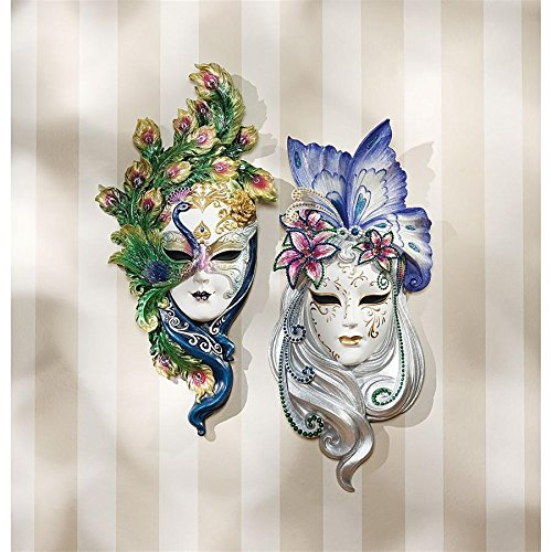 Design Toscano Peacock Feathers and Butterfly Wings Masks of Venice Wall Sculptures, 13 Inch, Set of Two, Polyresin, Full Color