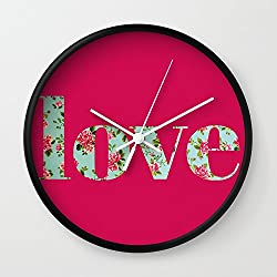Society6 Amor A La Antigua Wall Clock Black Frame, White Hands