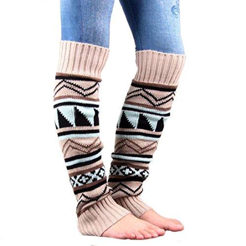 Siniao Women Stretch Boot Leg Cuffs Bohemia Socks (Beige) (Viking Outfit)