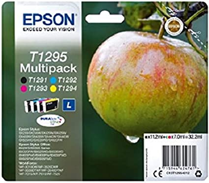 Epson T1295 - Pack de 4 cartuchos de tinta, tricolor y negro válido para los modelos WorkForce, Stylus, Stylus Office y otros, Ya disponible en Amazon Dash Replenishment: Amazon.es: Oficina y papelería