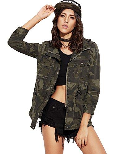 ROMWE Women's Casual Military Camo Long Sleeve Zipper Jacket Coat Green One-size