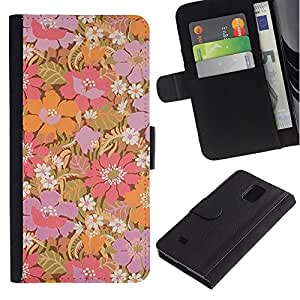 UberTech / Samsung Galaxy Note 4 SM-N910 / Orange Purple Flowers Pastel Wallpaper / Cuero PU Delgado caso Billetera cubierta Shell Armor Funda Case Cover Wallet Credit Card