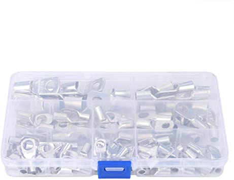 100PCS Ring Terminal Cable Connectors Set Electrical Wire Connectors Assortment Electrical Supplies Industrial Accessory for Copper Wire