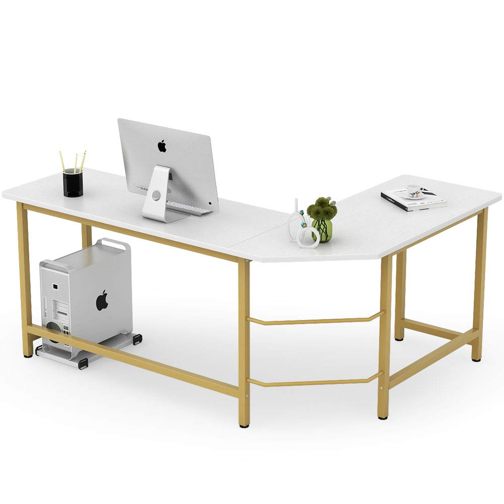 Tribesigns Modern L Shaped Desk, Corner Computer Office Desk PC Laptop Gaming Table Workstation for Home Office, White Gold Metal Frame by Tribesigns
