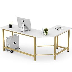 Tribesigns Modern L Shaped Desk, Corner Computer Office Desk