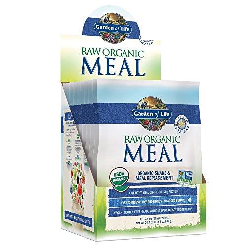 Garden of Life Meal Replacement Vanilla Powder, 10ct Tray, Organic Raw Plant Based Protein Powder, Vegan, Gluten-Free