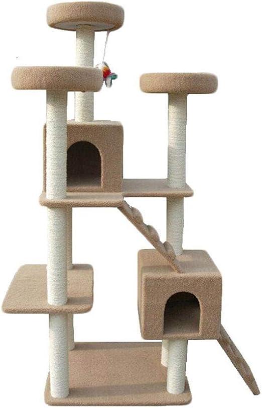 Aoligei Árbol para Gatos Pilar de sisal de Mascotas Gato Grande Tablero Rayado Gato Peluche Nido 127 * 66 * 188 cm: Amazon.es: Productos para mascotas