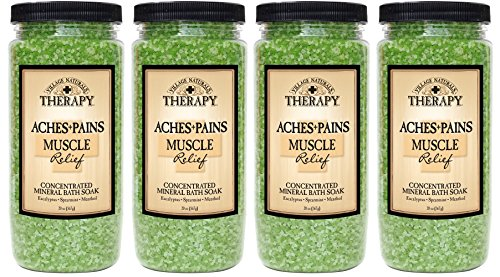 Village Naturals Therapy, Mineral Bath Soak, Aches and Pains Muscle Relief, 20 oz, Pack of - Salts Soak Natural Mineral