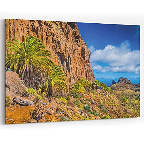 Actorstion Amazing Volcanic Scenery with Palm Trees Canary Islands Canvas Art Wall Dector,36