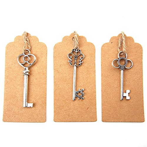 Antique Key Charm - Bingcute Mixed Set of 30 Vintage Antique Silver Skeleton Key Charm With 30PCS Kraft Paper Gift Tags & 30 Feet Natural Jute Twine