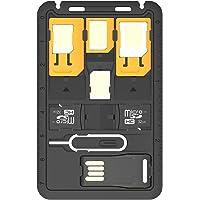 Promate Simate- 2 Travel 8 In 1 Micro Sim Nano Sim Card Holder With 4 Sim Adapters For Smartphones, Black
