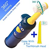 powered Best kids toothbrush electric,NeWisdom 360° rotating deep clean FAST brushing Electric Toothbrush for Kids,top gifts for boys 4 5 6 7 8 years old (Battery Powered Blue 4-8)