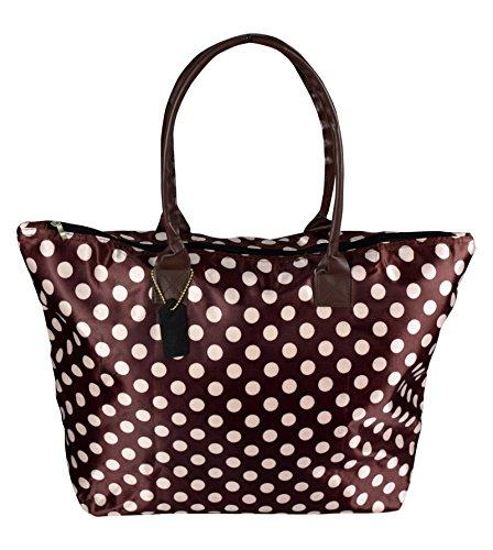 Polka Dot Tote - Peach Couture Womens Beach Fashion Large Travel Tote Handbag Shoulder Bag Purse Polka Dot Coffee White