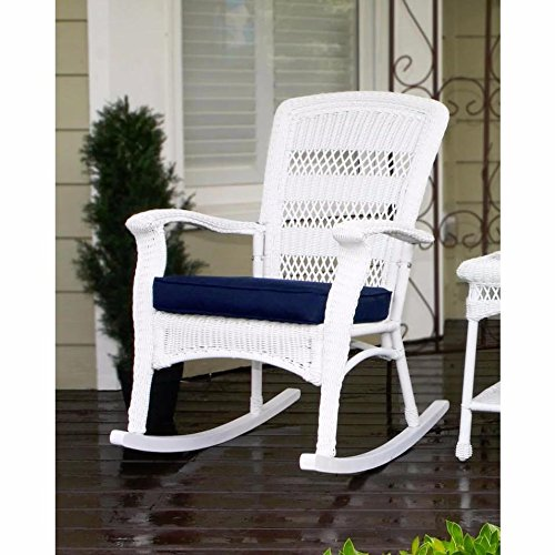 White Steel Rocking chair with Modern style and Coastal wicker finish Includes Custom Mouse Pad by GEN.