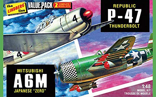 HL507 1/48 WW.II 日本海軍 A6M 零式艦上戦闘機 & アメリカ陸軍 P-47 サンダーボルト 2機セット プラスチックモデルキットの商品画像