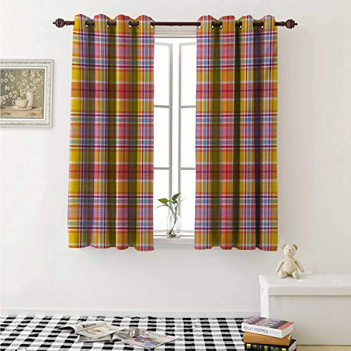 Madras Pink Panel - shenglv Abstract Blackout Draperies for Bedroom Madras Style Tartan Motif with Vivid Tone Bands Celtic Old Design Curtains Kitchen Valance W72 x L63 Inch Marigold Pink Earth Yellow