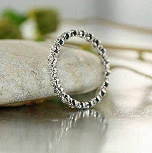 Conflict Free Natural Diamond Eternity Wedding Ring in 14k White Gold Bubble Diamond Wedding Band Bezel Set Eternity Diamond Stacking - 14k Bubbles Diamond