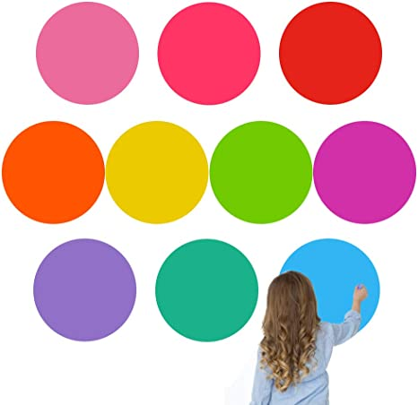 Large Sticker Student Stickers Removable Vinyl Stickers Dry Erase Circles Whiteboard Stickers 12 Pieces of Painting Colorful Stickers