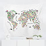 World Map Tapestry - Wall Hanging Decor by WFRANCIS - Printed in the USA - Small Medium Large Sizes