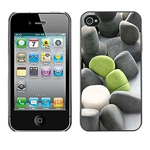 Cubierta protectora del caso de Shell Plástico || Apple iPhone 4 / 4S || Deep Meaning Green Grey Beach @XPTECH