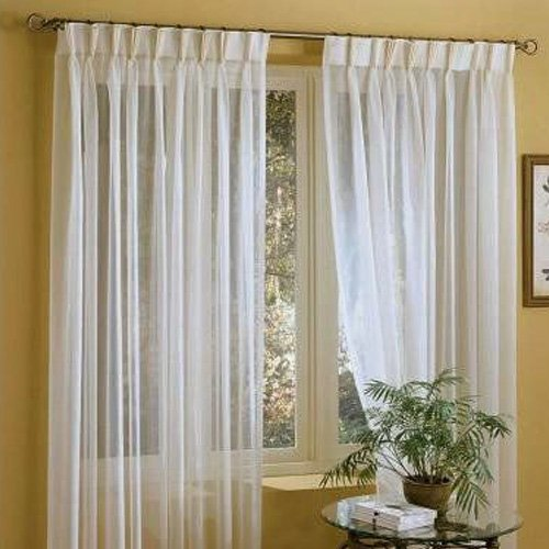 (IYUEGO Linen White Solid Sheer Curtains Double Pleated Top with Custom Multi Size 50