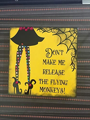 Iliogine Home Decorative Wood Sign Dont Make Me Release My Flying Monkeys Sign Halloween Plaque with Sayings Cabin Decor]()