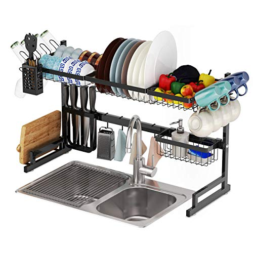 Harlita Over-Sink Dish Drying Rack - Includes Wine Glass Holder and Roll-Up Sink Rack - Food Grade Stainless-Steel, Strong, Customizable and Easy Assembly - Sink Size ≤ 33 1/2 inch, in Black