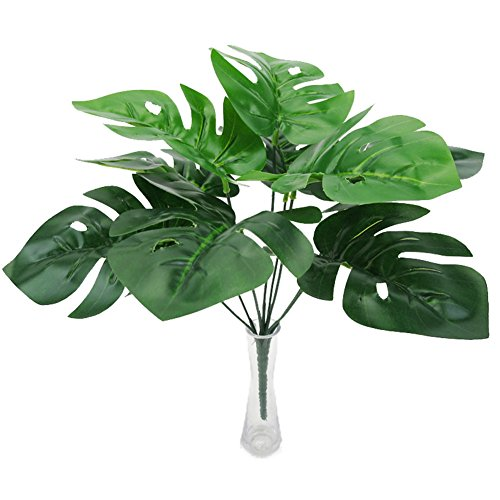 Crt Gucy 2pcs Fake Plants Artificial Greenery Tropical Shrubs Monstera Palm Leaves For House Home Garden Office Restaurant Wedding Décor (Small Palm Fake Tree)