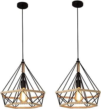 2x Corde de chanvre Cage Lampe de Plafond,Lustre Suspension Industrielle 25cm en forme Diamant Corde de Chanvre Noir …