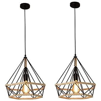 2 piezas Lámpara Colgante Vintage,Luz de Techo Retro,Iluminación Suspensión industrial cuerda de cáñamo Loft luz E27,Diámetro 25 cm,Luz de cuerda ...