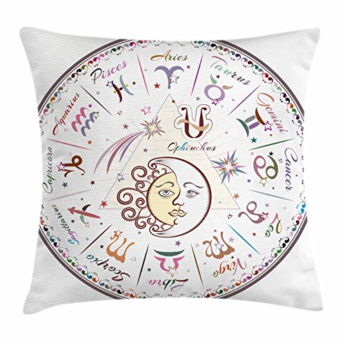 (Ambesonne Zodiac Throw Pillow Cushion Cover, Western Chart with All Signs Aries Virgo Leo Taurus Libra Mystique Fate Calendar, Decorative Square Accent Pillow Case, 18