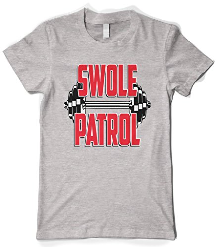 Cybertela Women's Swole Patrol Bumbbell, Funny Workout Gym T-shirt (Light Gray, (Friend Womens Light T-shirt)