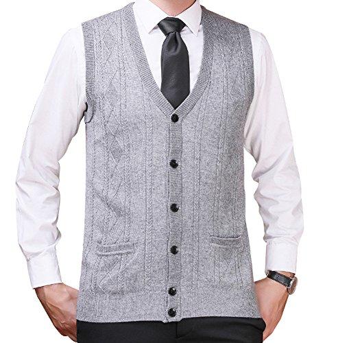 Zicac Men's V-neck Jacquard Vest Knitwear Sweater Waistcoat (XL, Light Gray#2)