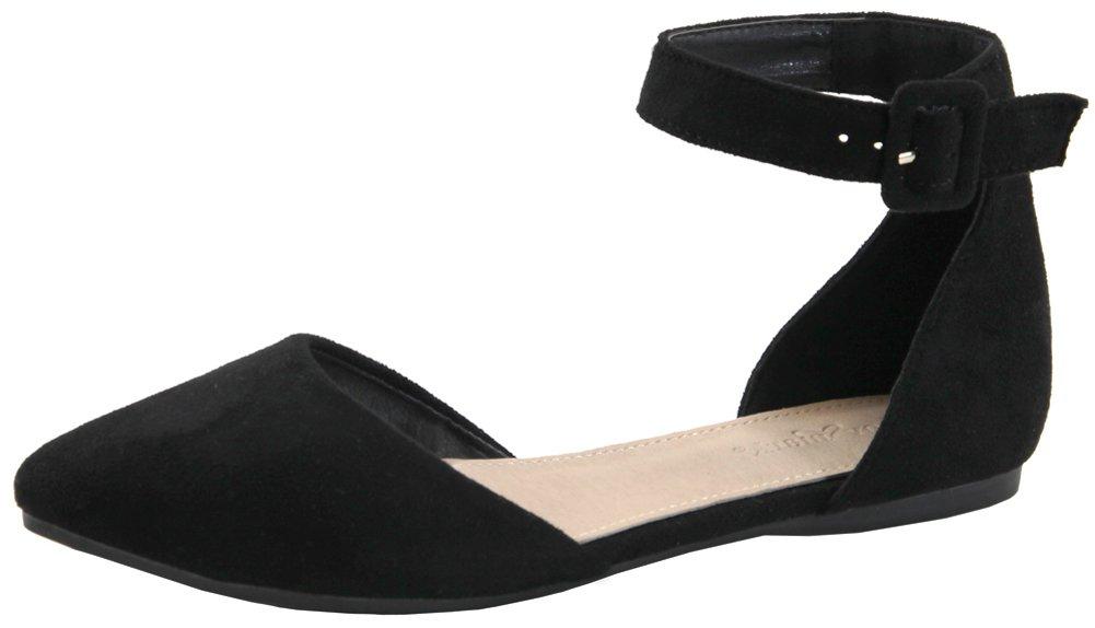 Lovmark Women's D'Orsay Adjustable Ankle Strap Pointed Toe Flat B074NCDTQ4 8.5 B(M) US|Black