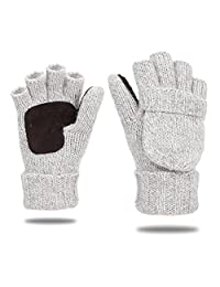 EGOGO Knit Convertible Fingerless Gloves Warm Wool MittensSuede Thermal Insulation Mittens Gloves For Men and Women E605-1 (White)