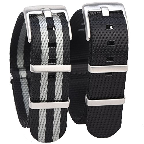 Randon Watch Bands NATO Strap Watch straps Premium Ballistic Nylon Strap with Heavy Duty Stainless Steel Buckle 2 Pack (20mm, Black/Black&Gray(Bond)) Ballistic Mens Watch