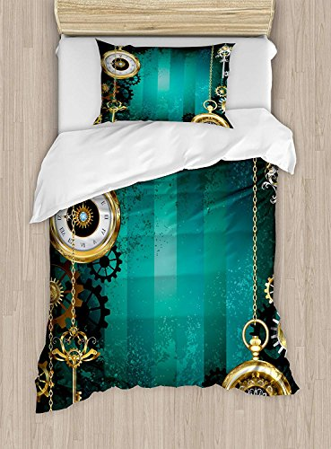Full Bedding Sets for Boys, Industrial Duvet Cover Set, Antique Items Watches Keys and Chains with Steampunk Influences Illustration, Include 1 Flat Sheet 1 Duvet Cover and 2 Pillow Cases