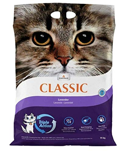 Intersand Classic Lavender Scented Cat Litter 28KG Antibacterial Disposable And Hypoallergenic Hygiene Granules With…
