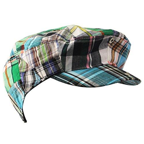 Men s Summer Preppy Tartan Plaid Front Snap Flat Golf Ivy Driving Cap Hat  Green 3128ec72103c