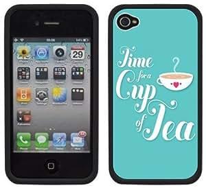 Tea Time Handmade iPhone 4 4S Black Hard Plastic Case