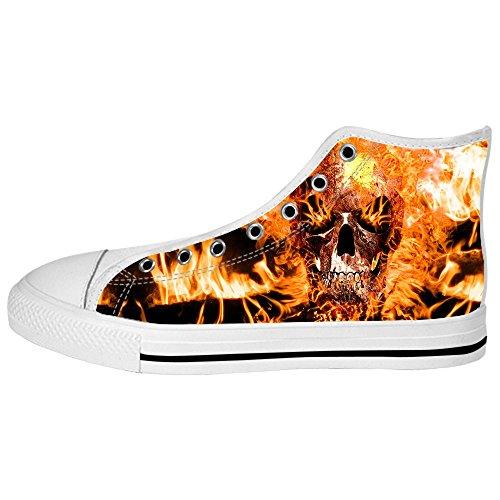 Sopra Di Tela Alto Men's Da Custom Le Canvas Scarpe Shoes Ginnastica Delle Lacci In Teschio I E2IH9WD