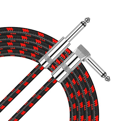 - Amumu SW30 Standard Series Woven Guitar Instrument Cable Right Angle 1/4 Inch TS to Straight 1/4 Inch TS 16 FT Black Red Cotton Woven Jacket