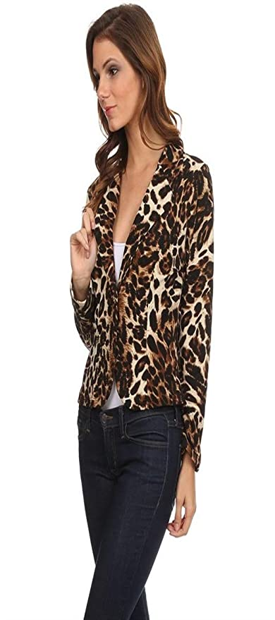 Fashion Secrets Women`s Animal Print Leopard Cheetah Formal Suit Jacket