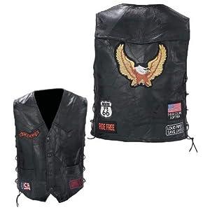 Black Diamond Plate Rock Design Genuine Buffalo Leather Biker Vest, Black, Large by Diamond Plate