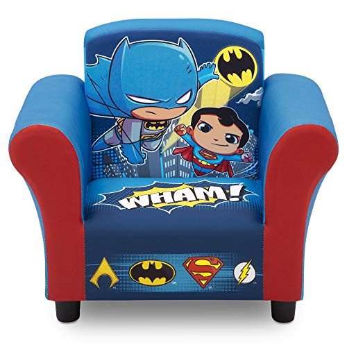 Delta Children Delta Children Kids Upholstered Chair, DC Super Friends | Superman | Batman | The Flash | Aquaman, Multi -