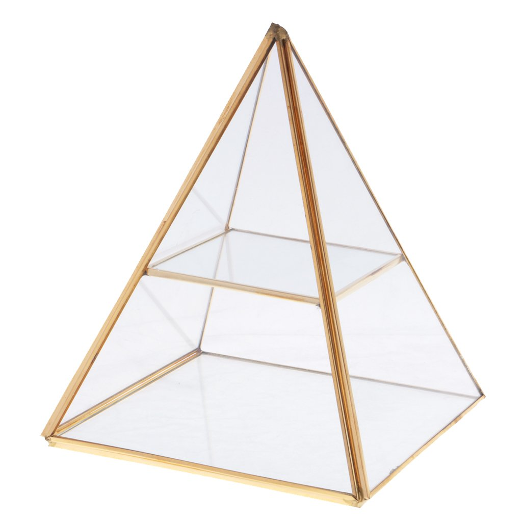 MonkeyJack 2 Tiers Glass Pyramid Jewelry Stand Display Case with Vintage Style Brass Tone Metal Frame