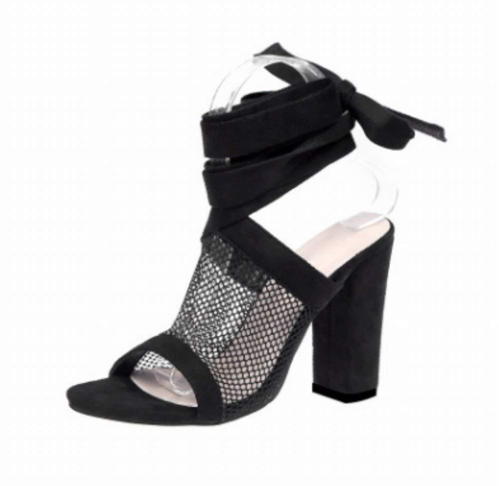 Oudan Sandals Frauen High-Heels Mesh-Spitze Fuß Riemen Fisch Mund Sandalen Große Schuhe (Farbe   Schwarz Größe   43)