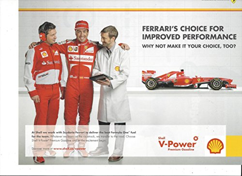 --PRINT AD-- For 2013 Shell Oil Ferrari F1 Ferrari Scuderia Race Car - F1 Scuderia