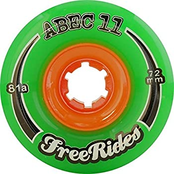 ABEC 11 Freeride Centerset Green Skateboard Wheels - 72mm 81a (Set of 4)